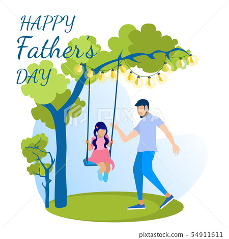 Happy Fathers Day Greeting Cartoon Card 54911611