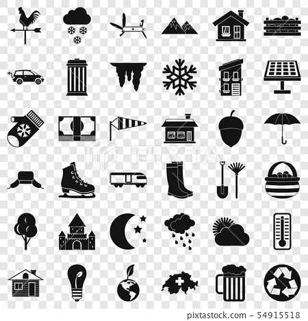 Suburb house icons set, simple style 54915518