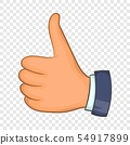 Hand with thumb up icon, cartoon style 54917899