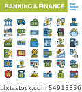 Banking and finance outline color icon 54918856