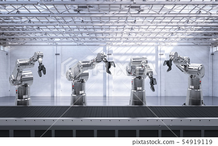 robot arm with conveyor line 54919119