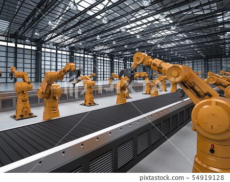 robot arm with conveyor line 54919128