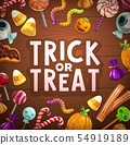 Halloween trick or treat candies and sweets card 54919189