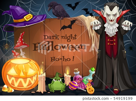 Dracula on Halloween party. Candy, pumpkin and bat 54919199