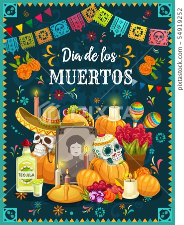 Sugar skulls on Mexican Day of the Dead altar 54919252