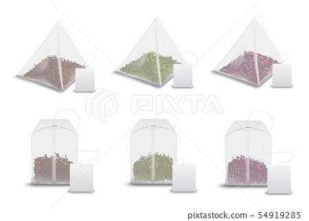 Tea bag pyramids, teabag tags realistic mockups 54919285