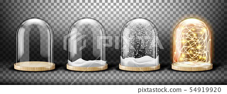 Glass dome with snow realistic vector 54919920