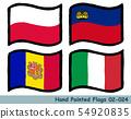 手繪國旗圖標,波蘭國旗,列支敦士登國旗,安道爾國旗,意大利國旗 54920835