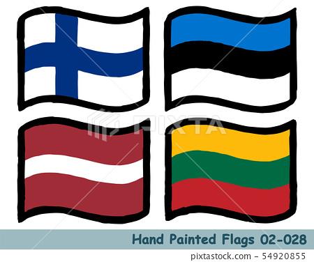 手繪國旗圖標,芬蘭國旗,愛沙尼亞國旗,拉脫維亞國旗,立陶宛國旗 54920855