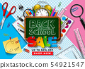 Back to School Sale Design with Colorful Pencil, Brush, Chalkboard and Other Learning Items on 54921547