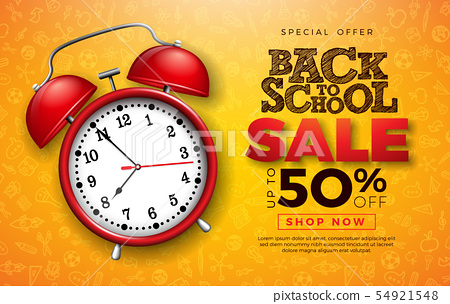 Back to School Sale Design with Red Alarm Clock and Typography Letter on Hand Drawn Doodles 54921548