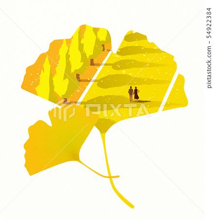 兩個人在銀杏樹 54922384