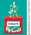 Donation box with golden coins, dollar banknotes 54923091