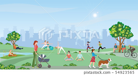 Happy people enjoying at the park. 54923565