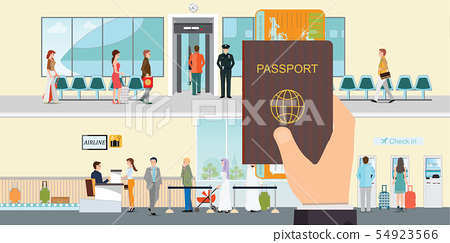 Hand holding passport book and boarding pass. 54923566