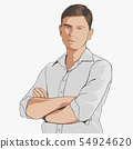 Handsome young adult men with crossed arms in shirt. Hand drawing illustration 54924620