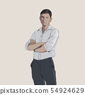 Handsome young adult men with crossed arms in shirt. Hand drawing illustration 54924629