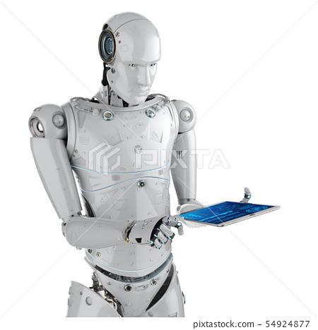 robot work on tablet 54924877