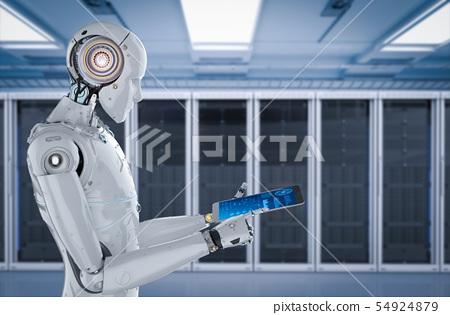 robot work on tablet 54924879