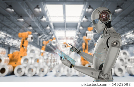 robot with glass tablet 54925098