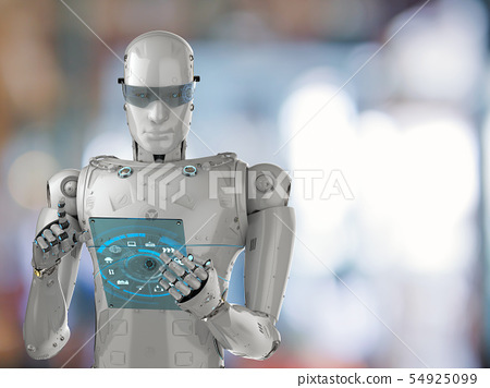 robot with glass tablet 54925099