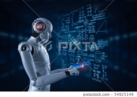 robot with education hud 54925149