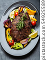 Club Beef steak with pepper sauce and Grilled vegetables on dark wooden background. Roas beef. Copy 54925589