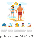 Man and woman sunbathing infographics couple vacation summer time on the beach sand tropical nature 54926520