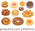 Cookie cakes top view sweet homemade breakfast bake food biscuit bakery cookie pastry illustration. 54926541