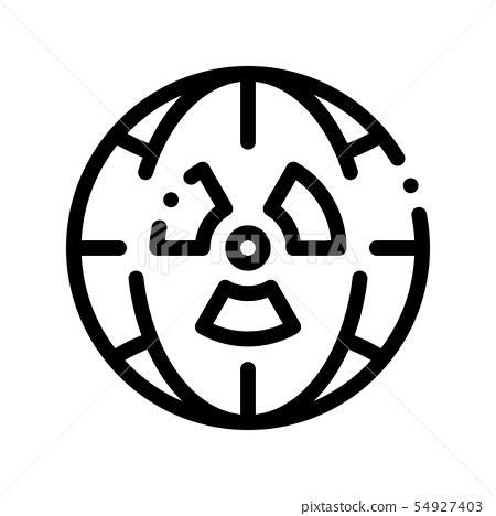 Radiation Symbol And Planet Vector Thin Line Icon 54927403