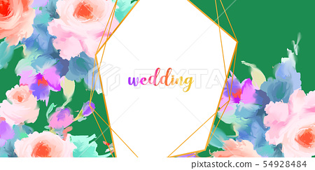 水彩美麗的典雅的牡丹花和玫瑰色花 54928484