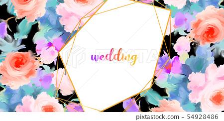 水彩美麗的典雅的牡丹花和玫瑰色花 54928486
