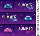 Set Vector Illustration Inscription Summer Night. 54929099