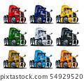 Cartoon semi trucks set isolated on white 54929520