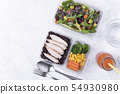 Fresh healthy diet lunch box with vegetable salad 54930980