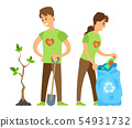 Volunteers Man and Woman, Trash and Tree Vector 54931732