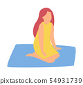 Woman Sitting on Carpet Isolated Cartoon Character 54931739