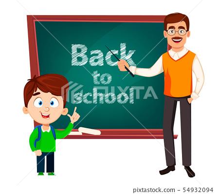 Back to school. Teacher man cartoon character