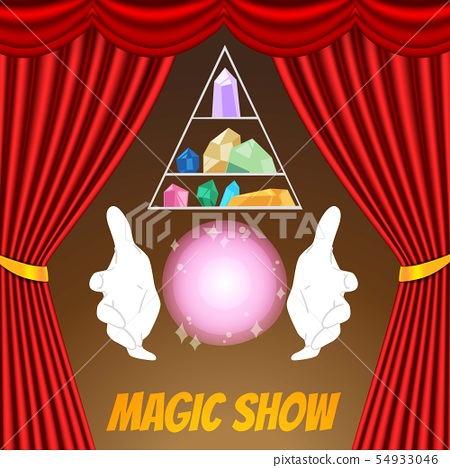 Magic Show poster vector template. Magician gloves, sphere, magical crystals and red curtains 54933046