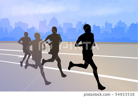 group of marathon runners silhouettes on abstract 54933538