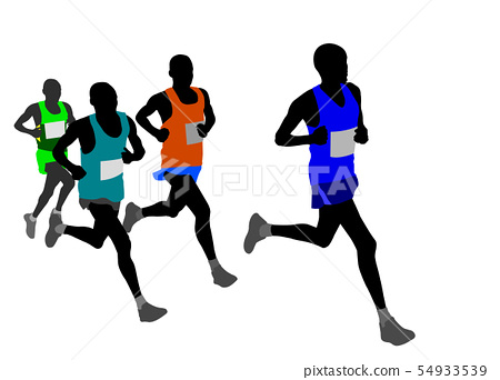 group of marathon runners silhouettes 54933539