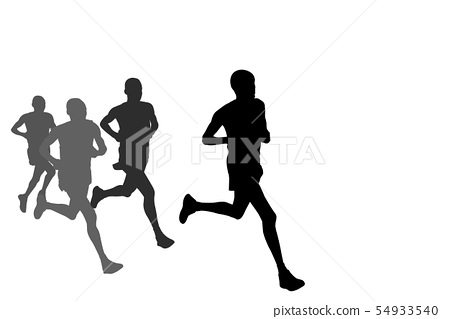 group of marathon runners silhouettes 54933540