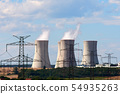 View of smoking chimneys of nuclear power plant, 54935263