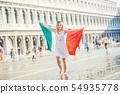 venice, woman, flag 54935778