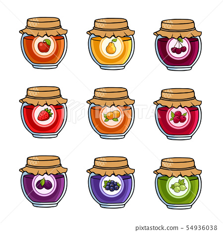 Set of colored jars with delicious homemade jam. 54936038
