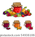 Jar of jam surrounded by fruits and berries. 54936106