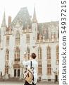 Paris square architecture woman tourist traveler 54937215