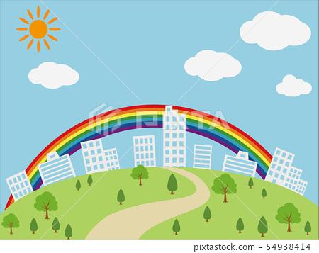 大廈都市風景和彩虹例證 54938414