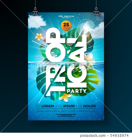 Tropical Summer Party Flyer Design Template with exotic palm leaves and flower on blue underwater 54938974