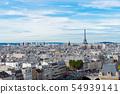 skyline of Paris with eiffel tower 54939141